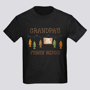 Gone Fishing Line Grandpa Kids Dark T-Shirt